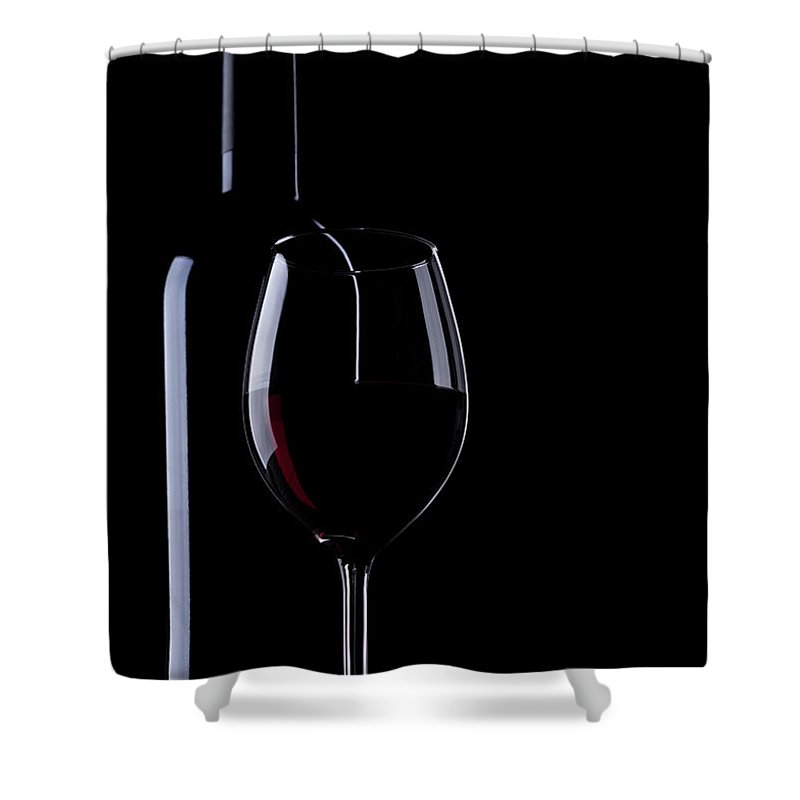 Curve Shower Curtain featuring the photograph Wine Bottle And Glass by Portishead1
