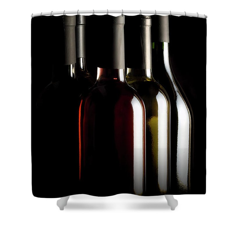 Rose Wine Shower Curtain featuring the photograph Wine Bottles by Carlosalvarez