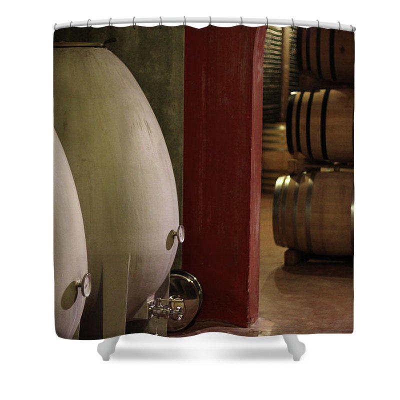 Aging Process Shower Curtain featuring the photograph Wine Cellar by Tom And Steve