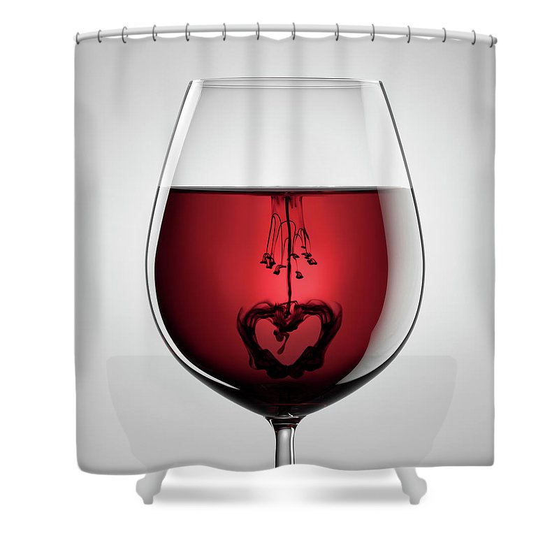 Mixing Shower Curtain featuring the photograph Wineglass, Red Wine, Black Ink And by Thomasvogel