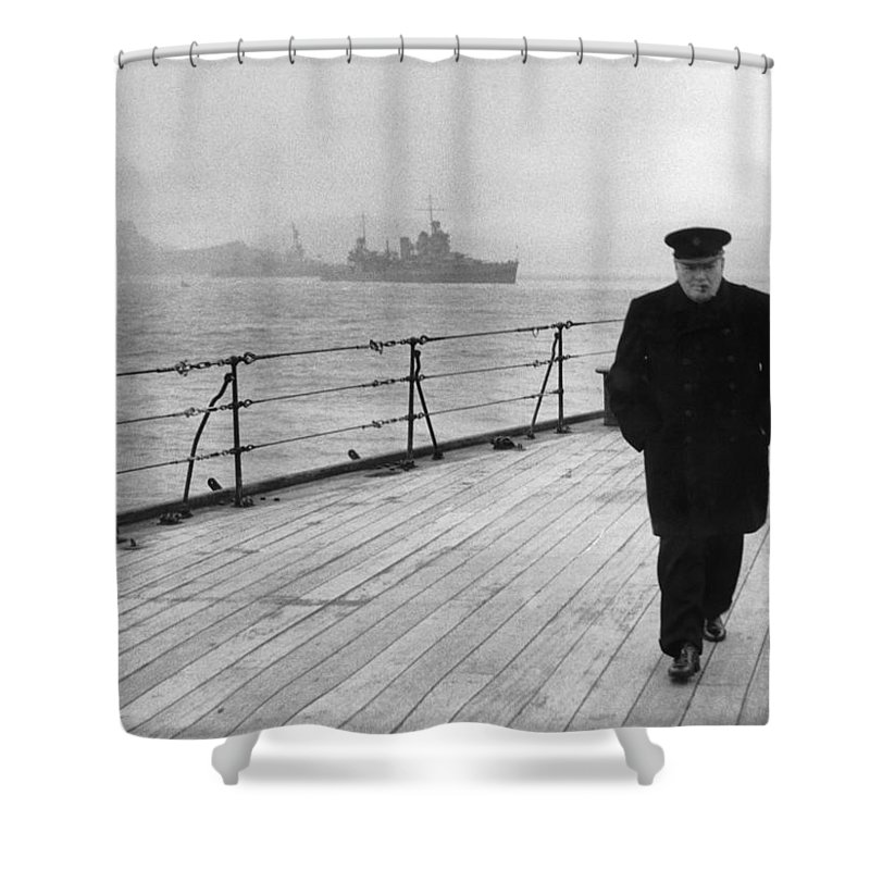Winston Churchill Shower Curtain featuring the photograph Winston Churchill At Sea by War Is Hell Store