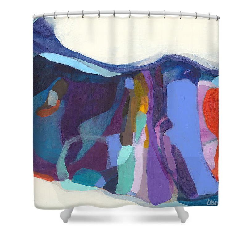 Abstract Shower Curtain featuring the painting With Grace by Claire Desjardins