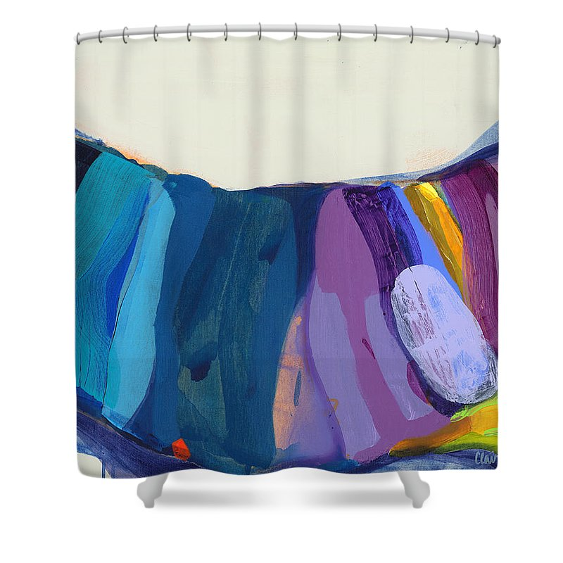 Abstract Shower Curtain featuring the painting With Joy by Claire Desjardins