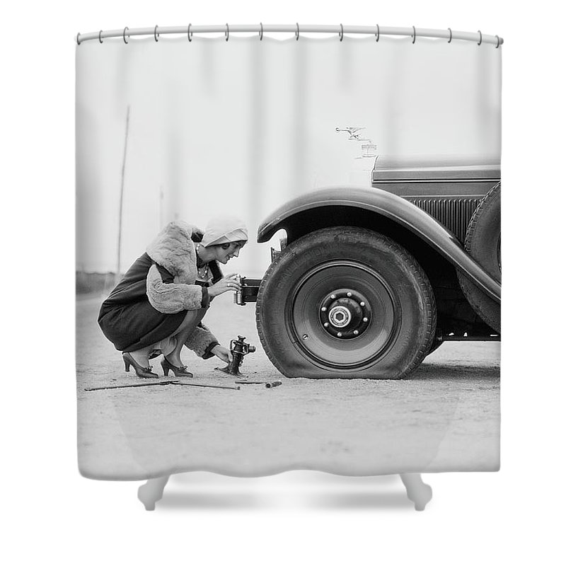 People Shower Curtain featuring the photograph Woman Changing Flat Tire On Car by H. Armstrong Roberts