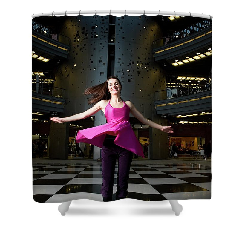 People Shower Curtain featuring the photograph Woman Dancing In Old Brewery Shopping by Tim E White
