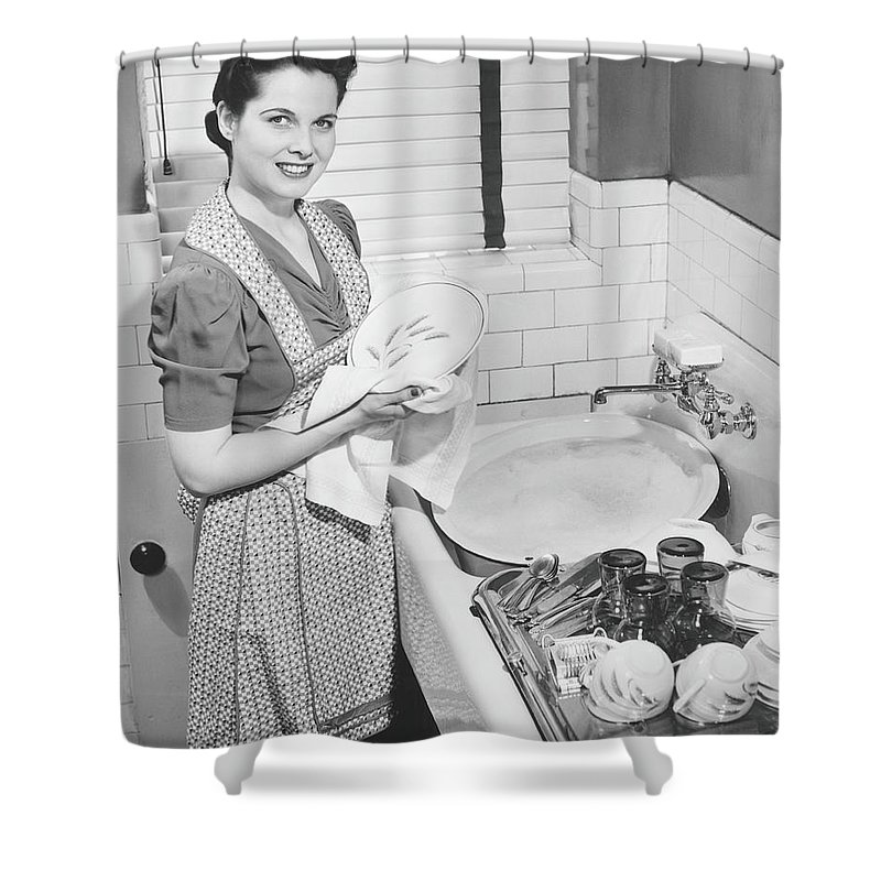 Three Quarter Length Shower Curtain featuring the photograph Woman Drying Dishes At Kitchen Sink by George Marks