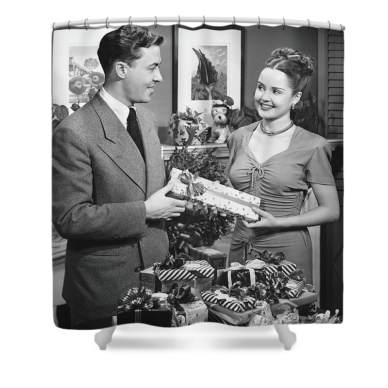 Heterosexual Couple Shower Curtain featuring the photograph Woman Giving Gift To Man, B&w by George Marks