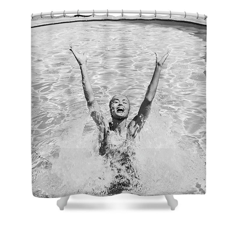 Human Arm Shower Curtain featuring the photograph Woman Having Fun In Swimming Pool by Tom Kelley Archive