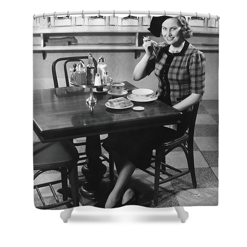 Breakfast Shower Curtain featuring the photograph Woman In Fancy Hat Eating Breakfast In by George Marks