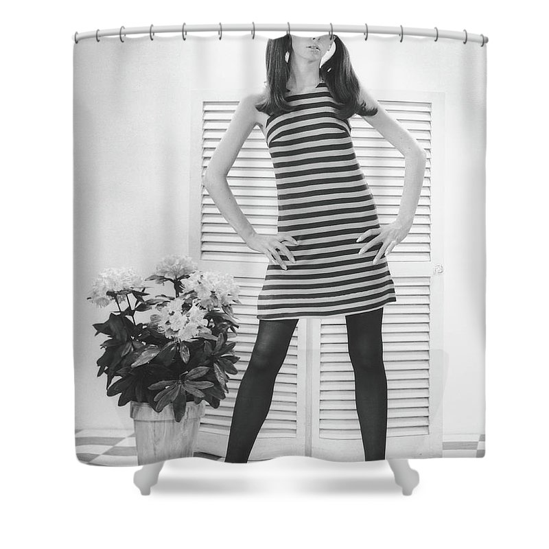 Cool Attitude Shower Curtain featuring the photograph Woman Posing In Studio, B&w, Portrait by George Marks