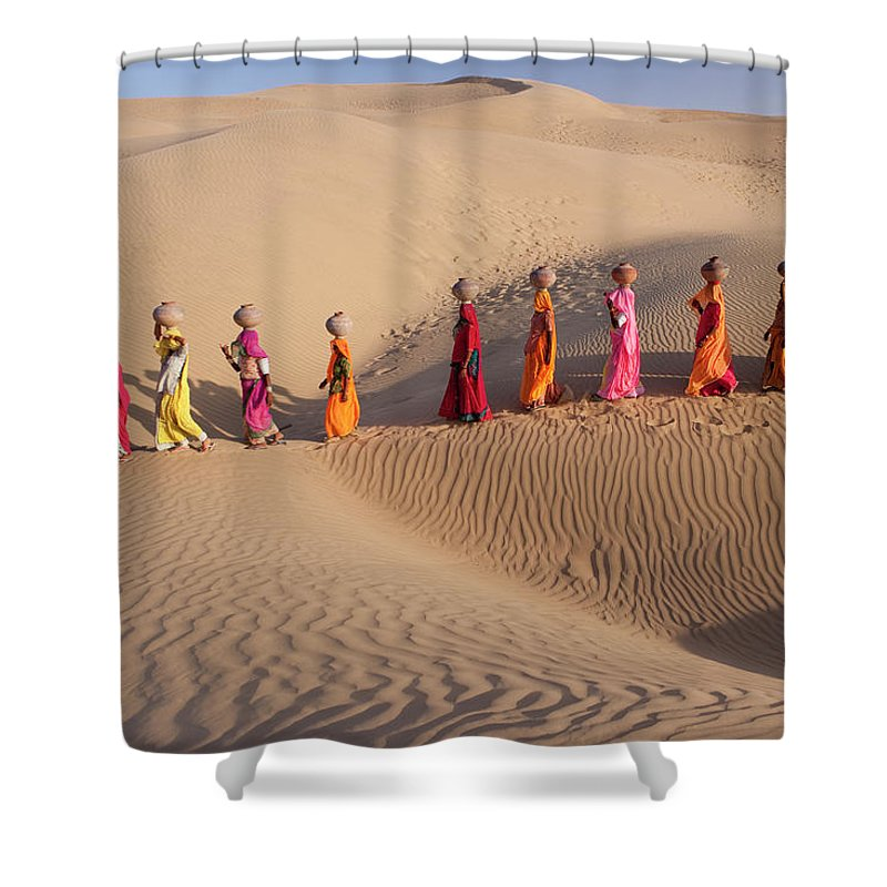 People Shower Curtain featuring the photograph Women Fetching Water From The Sparse by Mint Images - Art Wolfe