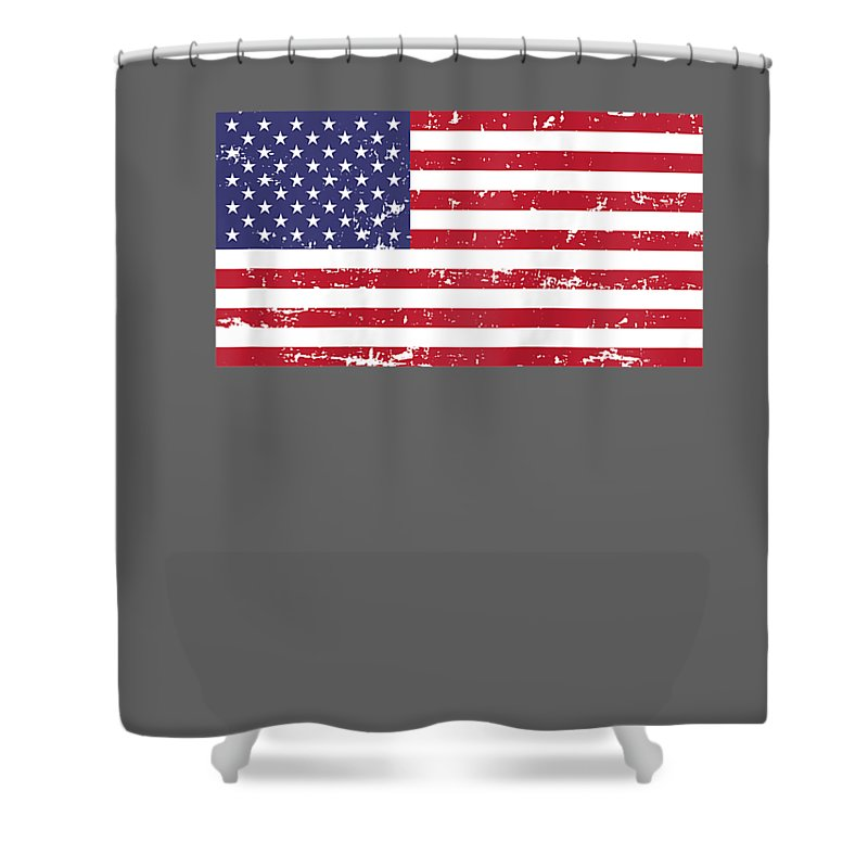 Shower Curtain featuring the digital art Womens Vintage American Flag 4th Of July Patriotic Independence Raglan Baseball Tee by Do David