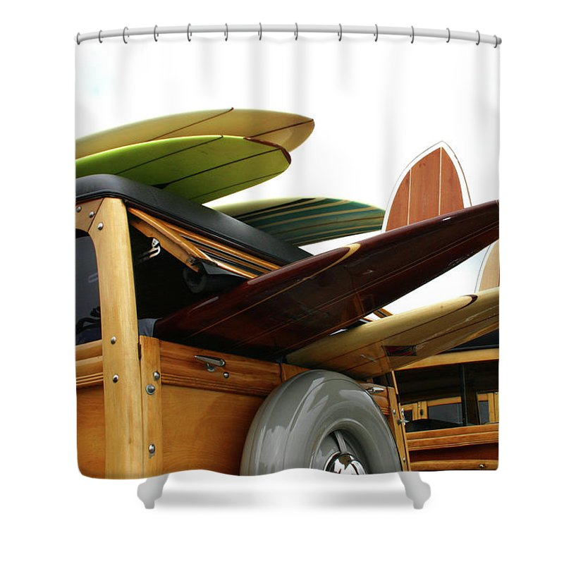 Adolescence Shower Curtain featuring the photograph Woodies On The Wharf by Mattabbe
