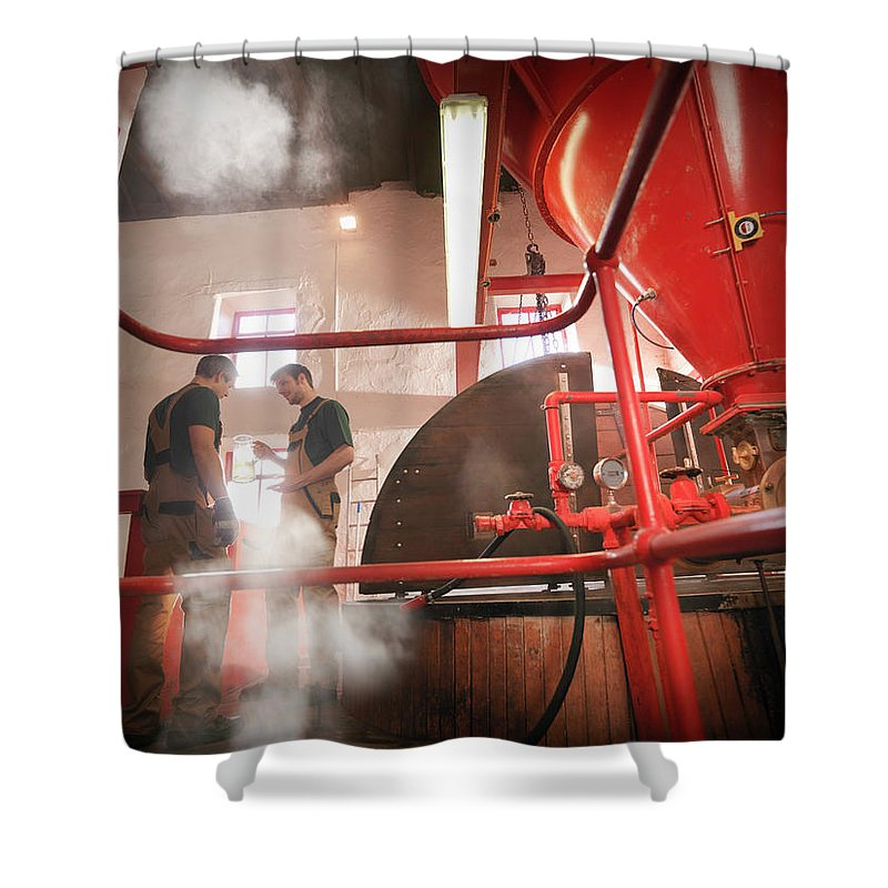 Expertise Shower Curtain featuring the photograph Workers In Brewery With Sample by Monty Rakusen