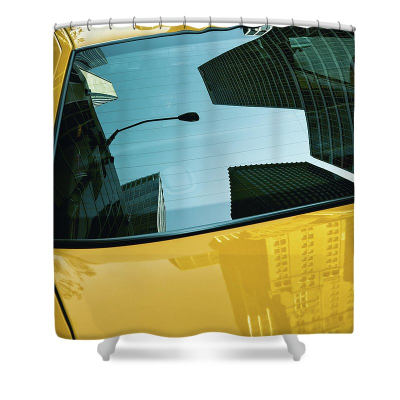 New York Taxi Shower Curtain featuring the photograph Yellow Cab, Big Apple by Dave Bowman