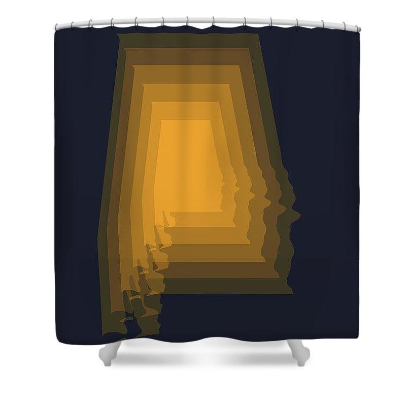 Alabama Shower Curtain featuring the digital art Yellow Map of Alabama by Naxart Studio