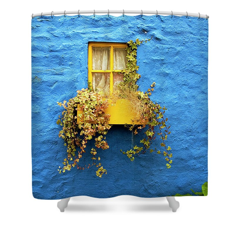 Outdoors Shower Curtain featuring the photograph Yellow Window On Bright Blue Wall & by Sarah Franklin Www.eyeshoot.co.uk