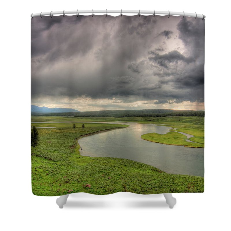 Scenics Shower Curtain featuring the photograph Yellowstone River In Hayden Valley by Kevin A Scherer