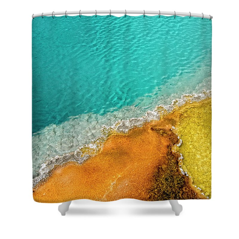 Geology Shower Curtain featuring the photograph Yellowstone West Thumb Thermal Pool by Bill Wight Ca