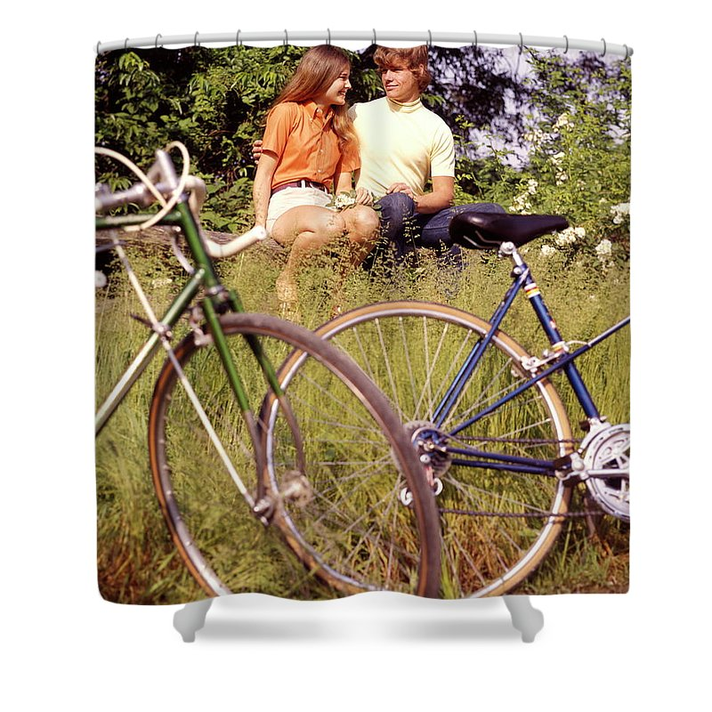 Heterosexual Couple Shower Curtain featuring the photograph Young Adults Teenagers Field Date Bikes by H. Armstrong Roberts