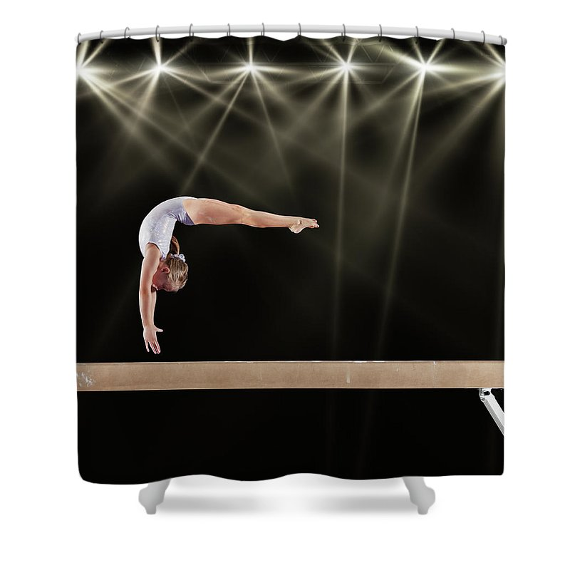 People Shower Curtain featuring the photograph Young Female Gymnast On Balance Beam by Robert Decelis Ltd