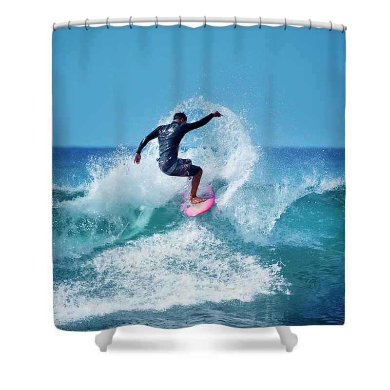 Young Men Shower Curtain featuring the photograph Young Male Surfer Surfing In The Water by Yinyang