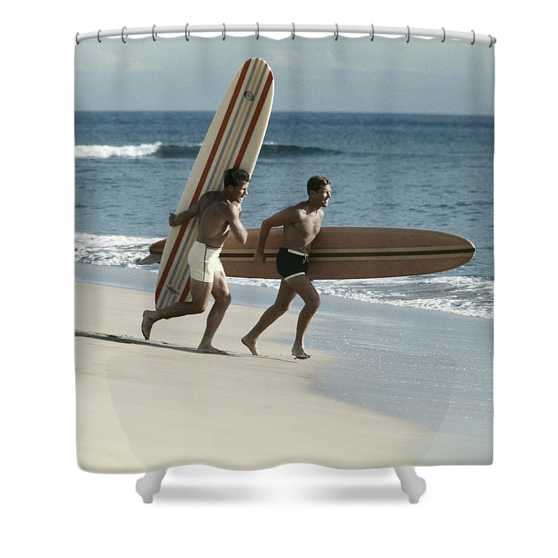 People Shower Curtain featuring the photograph Young Men Running On Beach With by Tom Kelley Archive