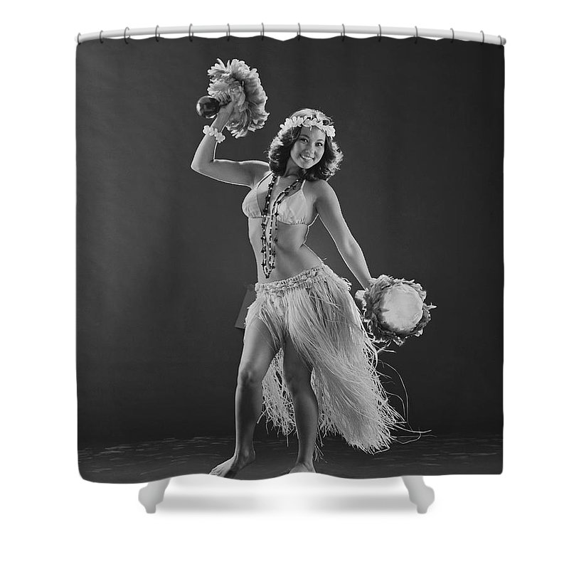 People Shower Curtain featuring the photograph Young Woman Hula Dancer With Feathered by Tom Kelley Archive