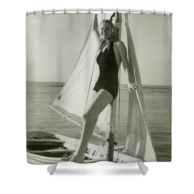 Human Arm Shower Curtain featuring the photograph Young Woman Posing On Sailboat by George Marks