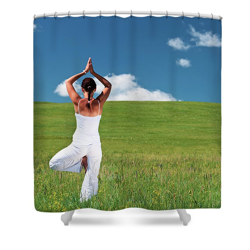Scenics Shower Curtain featuring the photograph Young Woman Practicing Yoga by Hadynyah