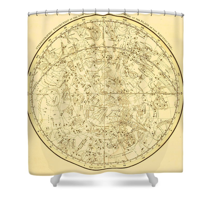 Engraving Shower Curtain featuring the digital art Zodiac Map by Nicoolay