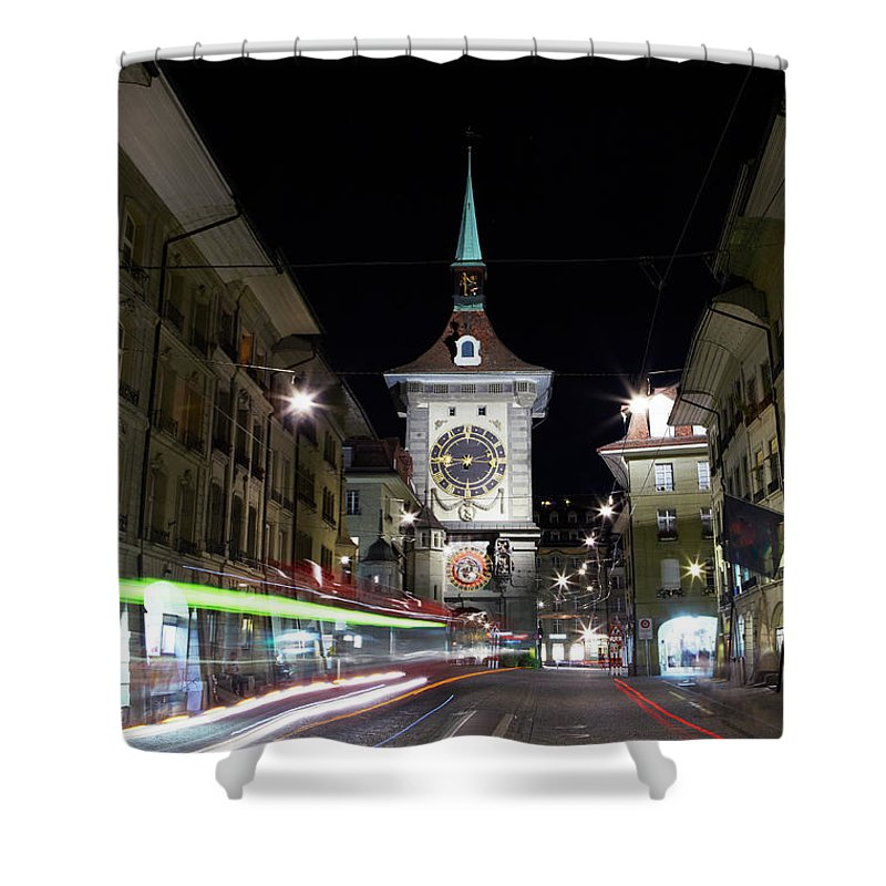 Clock Tower Shower Curtain featuring the photograph Zytglogge Tower At Night by Allan Baxter