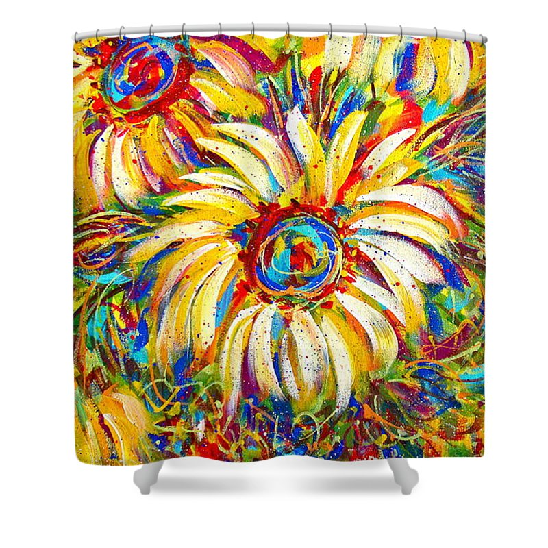 Flowers Shower Curtain featuring the painting Sunflower Burst by Natalie Holland