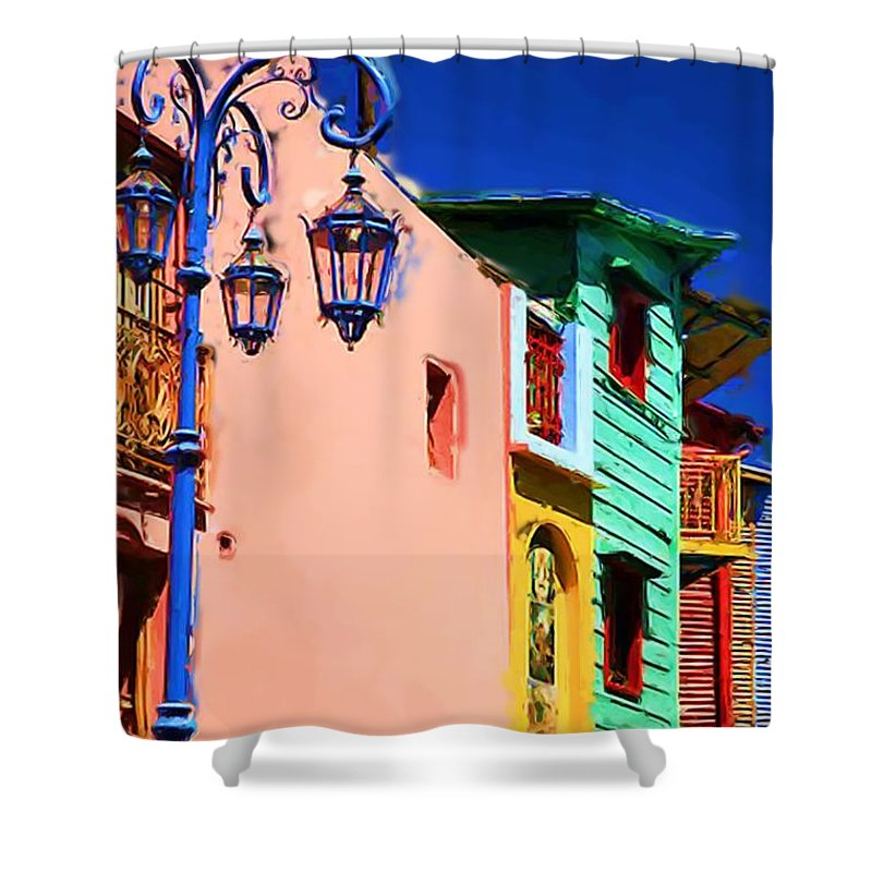 Buenos Aires Shower Curtain featuring the mixed media Buenos Aires by Asbjorn Lonvig