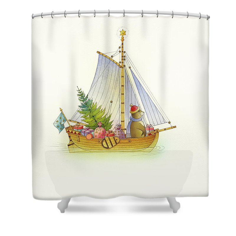 Boat Sea Winter Water Christmas Holydays Christmascards Shower Curtain featuring the drawing Christmas boat by Kestutis Kasparavicius
