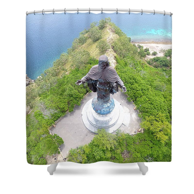 Travel Shower Curtain featuring the photograph Cristo Rei of Dili statue of Jesus by Brthrjhn2099