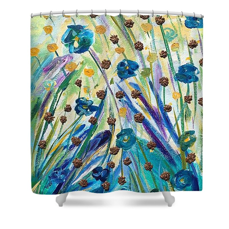 Agricultural Shower Curtain featuring the mixed media Flax Maturing by Naomi Gerrard