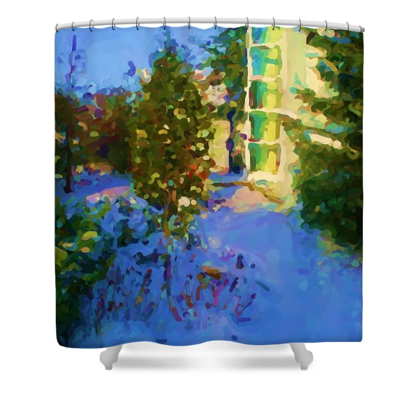 Hedensted Shower Curtain featuring the mixed media Hedensted by Asbjorn Lonvig