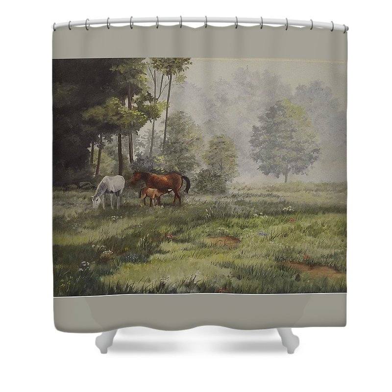 Landscape Shower Curtain featuring the painting Misty Morning Grazing by Wanda Dansereau