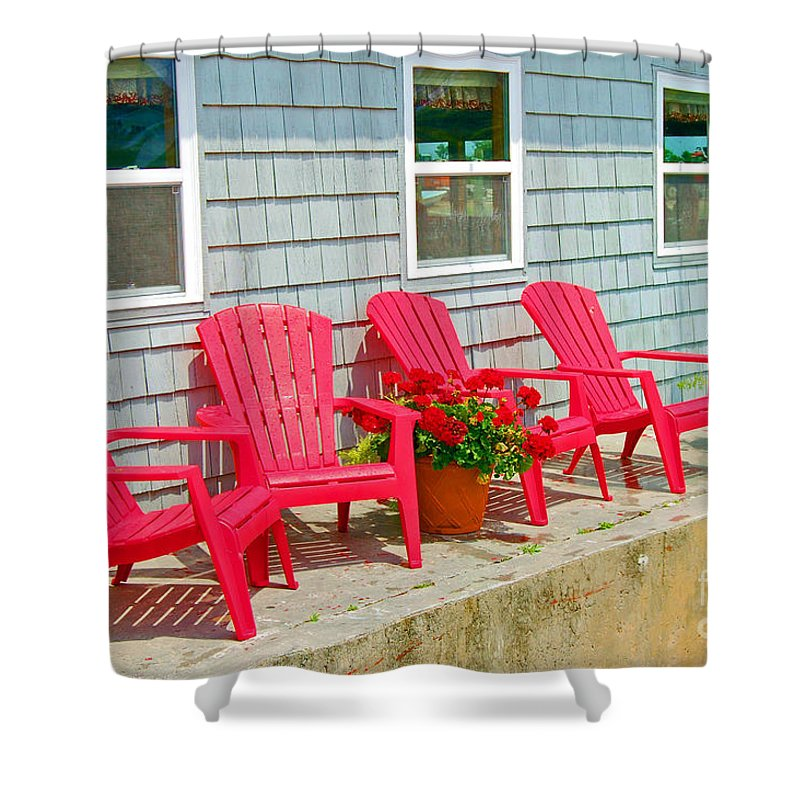 Red Shower Curtain featuring the photograph Red Chairs by Debbi Granruth