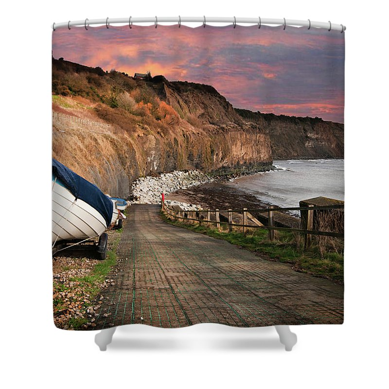 Robin Hoods Bay Shower Curtain featuring the mixed media Robin Hoods Bay by Smart Aviation