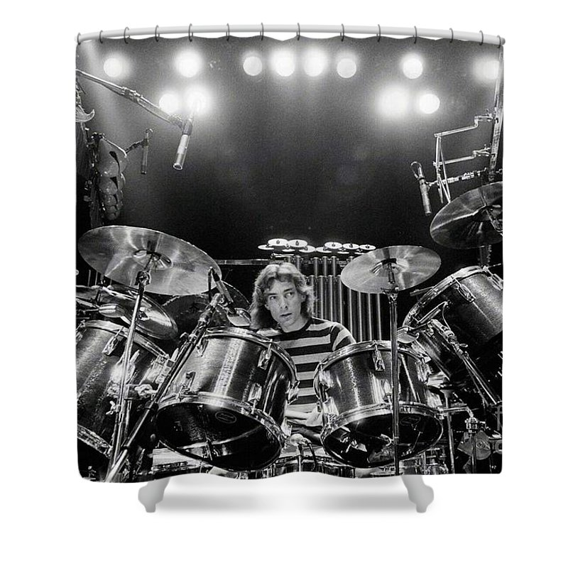 Rush Shower Curtain featuring the digital art Rush Neil Peart Poster by Trindira A