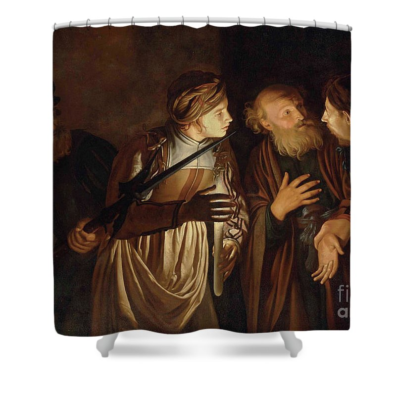 Coster Shower Curtain featuring the painting The Denial of Saint Peter by Adam de Coster