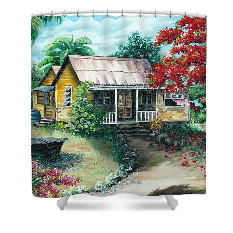 Landscape Painting Caribbean Painting Tropical Painting Island House Painting Poinciana Flamboyant Tree Painting Trinidad And Tobago Painting Shower Curtain featuring the painting Trinidad Life by Karin Dawn Kelshall- Best