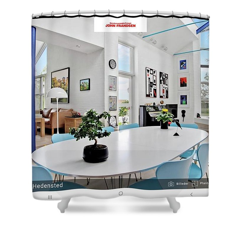 See Www.johnfrandsen.dk - Contact Dbh@johnfrandsen.dk Shower Curtain featuring the mixed media See www.johnfrandsen.dk - contact dbh@johnfrandsen.dk by Asbjorn Lonvig