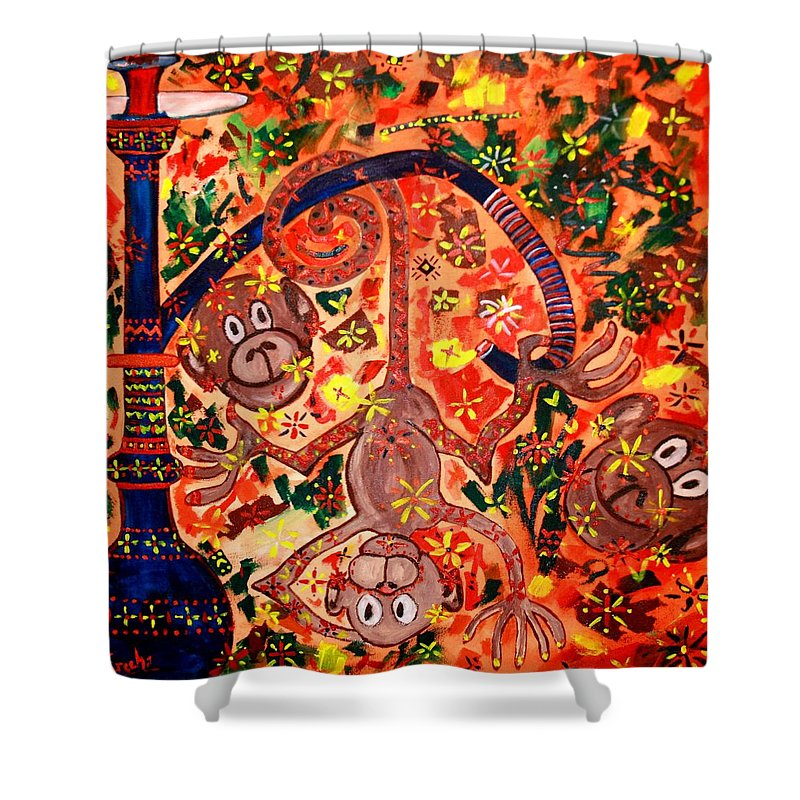 Contemporary Folk Shower Curtain featuring the painting Jinga Monkeys by Fareeha Khawaja