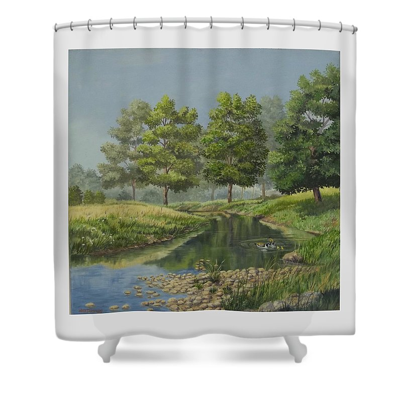 The Ky. Landscape Shower Curtain featuring the painting The First Swim by Wanda Dansereau