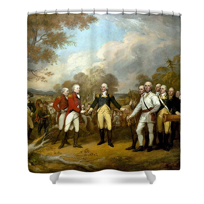 Revolutionary War Shower Curtain featuring the painting The Surrender of General Burgoyne by War Is Hell Store