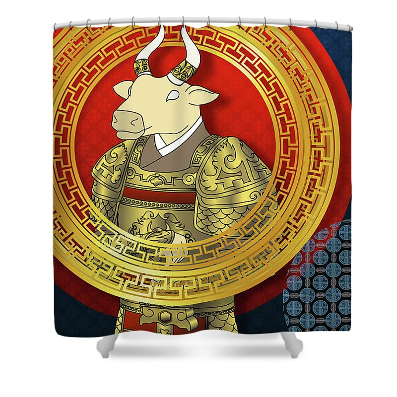 2021 Chinese new year and King of cow Shower Curtain for ...