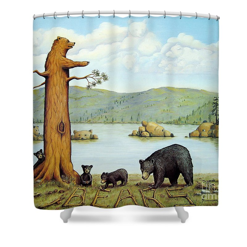 Bears Shower Curtain featuring the painting 27 Bears by Jerome Stumphauzer